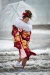 Coming of Age day under the snow in Tokyo