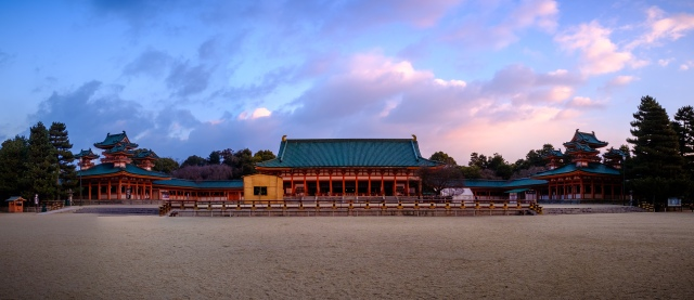 Pano of the sunset at Heian Jingu shot with the Fujifilm X-T2